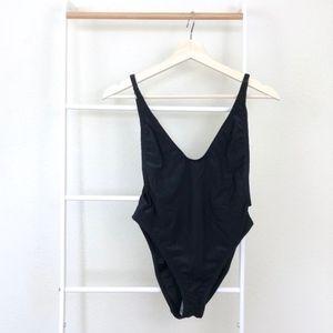 NWT Nasty Gal Alina Black Rib Cheeky Swimsuit XS